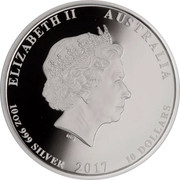Australia 10 Dollars 10th Anniversary Australian Koala 2017 ELIZABETH II AUSTRALIA 10 OZ 999 SILVER 2017 10 DOLLARS IRB coin obverse