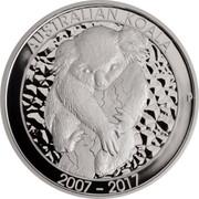 Australia 10 Dollars 10th Anniversary Australian Koala 2017 AUSTRALIAN KOALA 2007-2017 P SB coin reverse