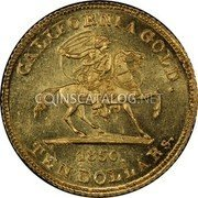 USA 10 Dollars 1850 KM# 18 Baldwin & Company CALIFORNIA GOLD. coin obverse