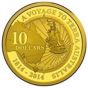 Australia 10 Dollars A Voyage to Terra Australis 2014 KM# 2163 A VOYAGE TO TERRA AUSTRALIS 1814-2014 10 DOLLARS 1/10 OZ .9999 AU C coin reverse