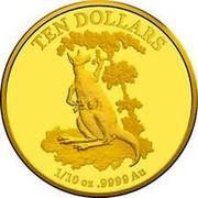Australia 10 Dollars Kangaroo Series 2015 TEN DOLLARS 1/10 OZ .9999 AU coin reverse