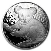 Australia 10 Dollars Koala on a tree branch 2009 10 OZ 999 SILVER P coin reverse