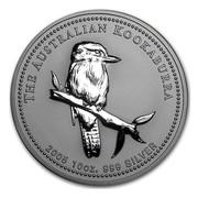 Australia 10 Dollars Kookaburra on a branch 2005 THE AUSTRALIAN KOOKABURRA 2005 10 OZ. 999 SILVER coin reverse