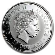 Australia 10 Dollars Kookaburra sitting on a tree branch with leaves 2000 ELIZABETH II AUSTRALIA 10 DOLLARS IRB coin obverse