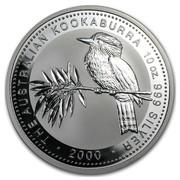 Australia 10 Dollars Kookaburra sitting on a tree branch with leaves 2000 THE AUSTRALIAN KOOKABURRA 10 OZ. 999 SILVER 2000 coin reverse