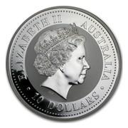 Australia 10 Dollars Kookaburra sitting on a wire fence 2008 ELIZABETH II AUSTRALIA 10 DOLLARS IRB coin obverse