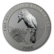 Australia 10 Dollars Kookaburra sitting on a wire fence 2008 THE AUSTRALIAN KOOKABURRA 10 OZ 999 SILVER 2008 coin reverse