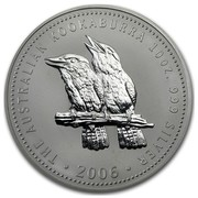 Australia 10 Dollars Kookaburras on a gum tree 2006  THE AUSTRALIAN KOOKABURRA 10 OZ. 999 SILVER ∙ 2006∙ coin reverse