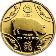 Australia 10 Dollars Lunar Year of the Pig 2007 KM# 809b 2007 YEAR OF THE PIG coin reverse