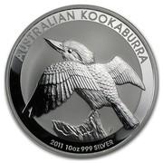 Australia 10 Dollars Perched Kookaburra 2011 AUSTRALIAN KOOKABURRA 2011 10 OZ 999 SILVER P coin reverse