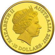 Australia 10 Dollars The Rooster 2017 ELIZABETH II AUSTRALIA 2017 IRB ∙ 10 DOLLARS ∙ coin obverse
