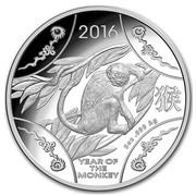 Australia 10 Dollars The Snub-Nosed Monkey 2016 2016 YEAR OF THE MONKEY 5 OZ .999 AG coin reverse