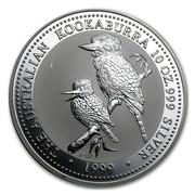 Australia 10 Dollars Two Kookaburras 1999 THE AUSTRALIA KOOKABURRA 10 OZ. 999 SILVER 1999 P100 coin reverse