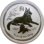 Australia 10 Dollars Year of the Dog 2018 2018 YEAR OF THE DOG P IJ coin reverse