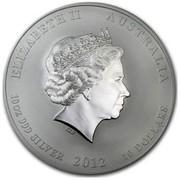 Australia 10 Dollars Year of the Dragon (Red) 2012 ELIZABETH II AUSTRALIA 10 OZ 999 SILVER 2012 10 DOLLARS IRB coin obverse