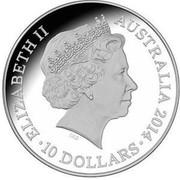 Australia 10 Dollars Year of the Horse 2014  ELIZABETH II AUSTRALIA 2014 10 DOLLARS IRB coin obverse