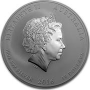 Australia 10 Dollars Year of the Monkey 2016 ELIZABETH II AUSTRALIA 10 OZ 999 SILVER 2016 10 DOLLARS IRB coin obverse