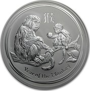 Australia 10 Dollars Year of the Monkey 2016 YEAR OF THE MONKEY P IJ coin reverse