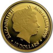 Australia 10 Dollars Year of the Rat 2008 KM# 1057 ELIZABETH II AUSTRALIA 2008 10 DOLLARS IRB coin obverse