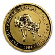 Australia 100 Dollars Australian Hopping Kangaroos 2004 THE AUSTRALIAN NUGGET 1 OZ. 9999 GOLD 2004 coin reverse