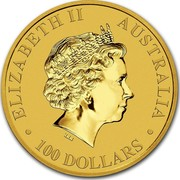 Australia 100 Dollars Australian Kangaroo 2017 ELIZABETH II AUSTRALIA 100 DOLLARS IRB coin obverse