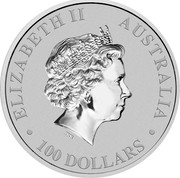 Australia 100 Dollars Australian Kangaroo 2018 ELIZABETH II AUSTRALIA 100 DOLLARS IRB coin obverse
