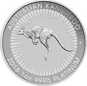 Australia 100 Dollars Australian Kangaroo 2018 AUSTRALIAN KANGAROO 2018 1 OZ 9995 PLATINUM P coin reverse