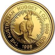 Australia 100 Dollars Australian Nugget 1998 THE AUSTRALIAN NUGGET 1 OZ. 9999 GOLD 1998 P coin reverse