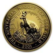 Australia 100 Dollars Australian Nugget 2001 THE AUSTRALIAN NUGGET 1 OZ. 9999 GOLD 2001 coin reverse