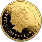 Australia 100 Dollars Australian Prospector 150th Anniversary 2001  ELIZABETH II AUSTRALIA 100 DOLLARS coin obverse