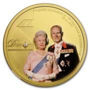 Australia 100 Dollars Diamond Wedding Anniversary 2007 HM QUEEN ELIZABETH II HRH THE DUKE OF EDINBURGH 20.11.1947 DIAMOND ANNIVERSARY P coin reverse