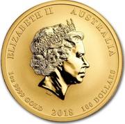 Australia 100 Dollars Dragon & Phoenix 2018 ELIZABETH II AUSTRALIA 1 OZ 9999 GOLD 2018 100 DOLLARS IRB coin obverse