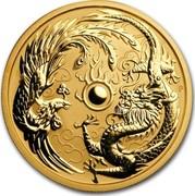 Australia 100 Dollars Dragon & Phoenix 2018 P TV coin reverse