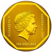 Australia 100 Dollars Emu Road Sign 2015 ELIZABETH II AUSTRALIA 2015 100 DOLLARS IRB coin obverse