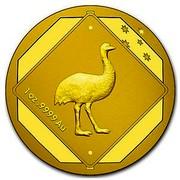 Australia 100 Dollars Emu Road Sign 2015 1 OZ .9999 AU coin reverse