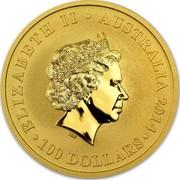 Australia 100 Dollars Kangaroo 2014 ELIZABETH II AUSTRALIA 2014 100 DOLLARS IRB coin obverse