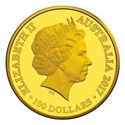 Australia 100 Dollars Kangaroo at Sunset 2017 ELIZABETH II AUSTRALIA 2017 IRB ∙ 100 DOLLARS ∙ coin obverse