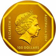 Australia 100 Dollars Koala Road Sign 2014 ELIZABETH II AUSTRALIA 2014 100 DOLLARS IRB coin obverse