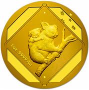 Australia 100 Dollars Koala Road Sign 2014 1 OZ. 9999 AU coin reverse