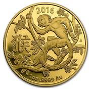 Australia 100 Dollars Lunar Monkey 2016 2016 1 OZ .9999 AU coin reverse