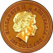 Australia 100 Dollars Lunar Rooster 2005  ELIZABETH II AUSTRALIA 100 DOLLARS IRB coin obverse