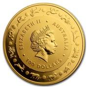 Australia 100 Dollars Lunar Rooster 2017 ELIZABETH II AUSTRALIA 100 DOLLARS IRB coin obverse