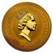 Australia 100 Dollars Nuggets 1998 ELIZABETH II AUSTRALIA 100 DOLLARS coin obverse