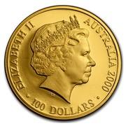 Australia 100 Dollars Olympics Stadium (Colorized) 2000 ELIZABETH II AUSTRALIA 2000 100 DOLLARS coin obverse