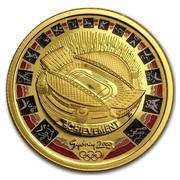 Australia 100 Dollars Olympics Stadium (Colorized) 2000 ACHIEVEMENT SYDNEY 2000 coin reverse