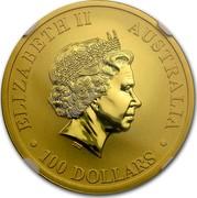 Australia 100 Dollars Resting Kangaroo 2016  ELIZABETH II AUSTRALIA 100 DOLLARS IRB coin obverse
