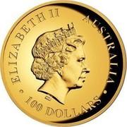 Australia 100 Dollars Resting Koala 2017 ELIZABETH II AUSTRALIA 100 DOLLARS IRB coin obverse