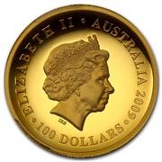Australia 100 Dollars Sitting Koala 2009 KM# 1115 ELIZABETH II AUSTRALIA 100 DOLLARS IRB coin obverse