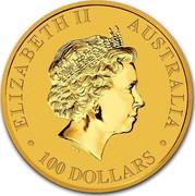 Australia 100 Dollars Standing Kangaroo 2014 KM# 2126 ELIZABETH II AUSTRALIA 100 DOLLARS IRB coin obverse