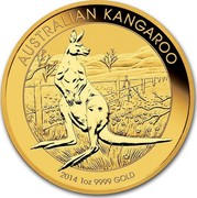 Australia 100 Dollars Standing Kangaroo 2014 KM# 2126 AUSTRALIAN KANGAROO 2014 1 OZ 9999 GOLD P coin reverse